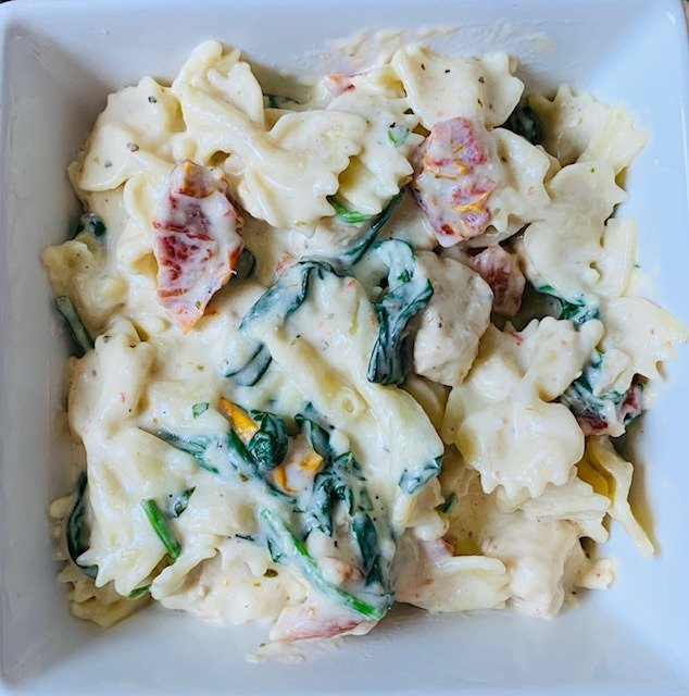 Instant Pot Tuscan Chicken, Instant Pot, Chicken, Pasta, Spinach, The Tasty Travelers