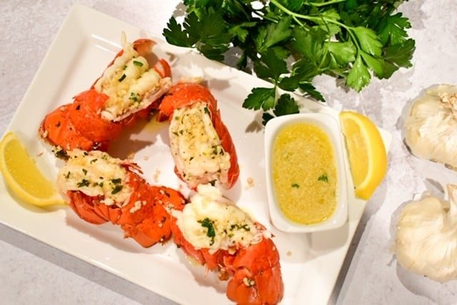 lobster, lobster tail, seafood, butter, compound butter, surf and turf, shellfish, Ninja Foodi,