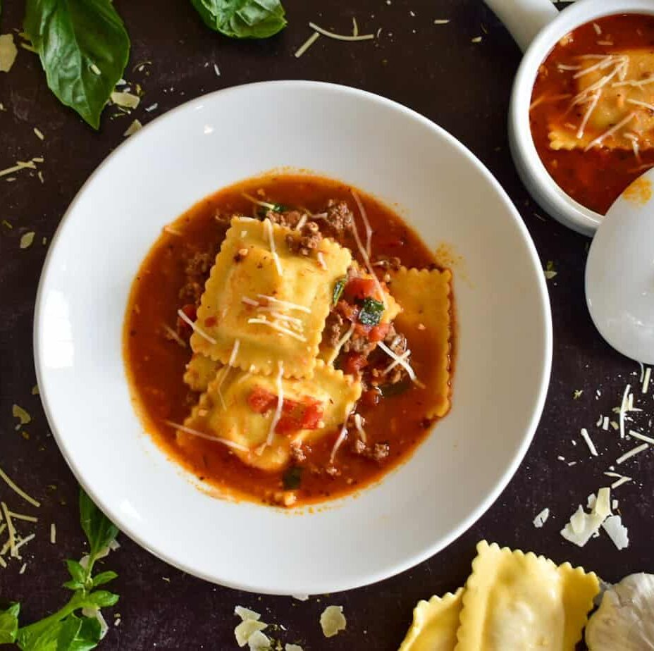 ravioli soup, instant pot, ninja foodi, ravioli, soup, italian, dinner, sausage, beef, pork