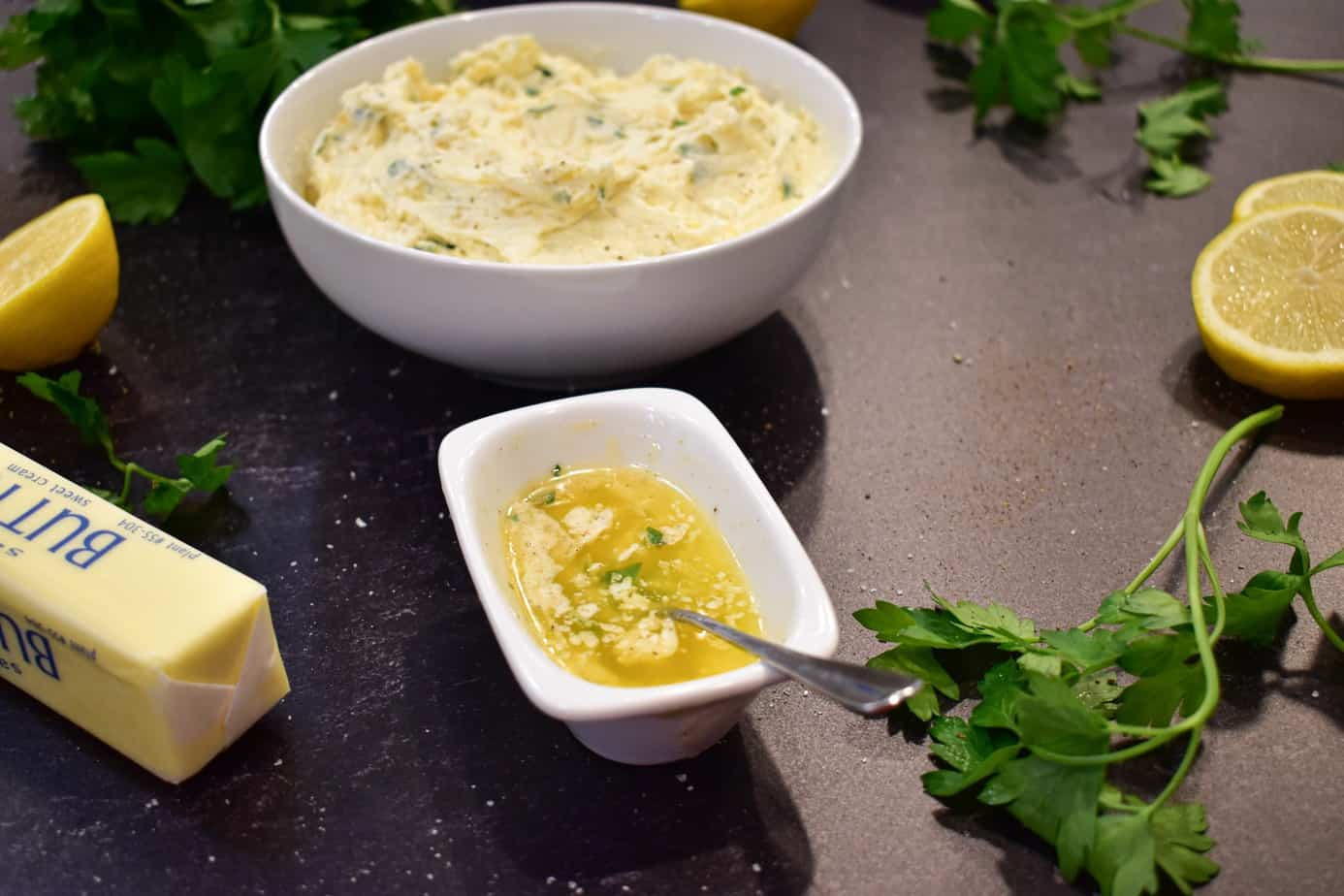 compound butter in bowl with melted butter